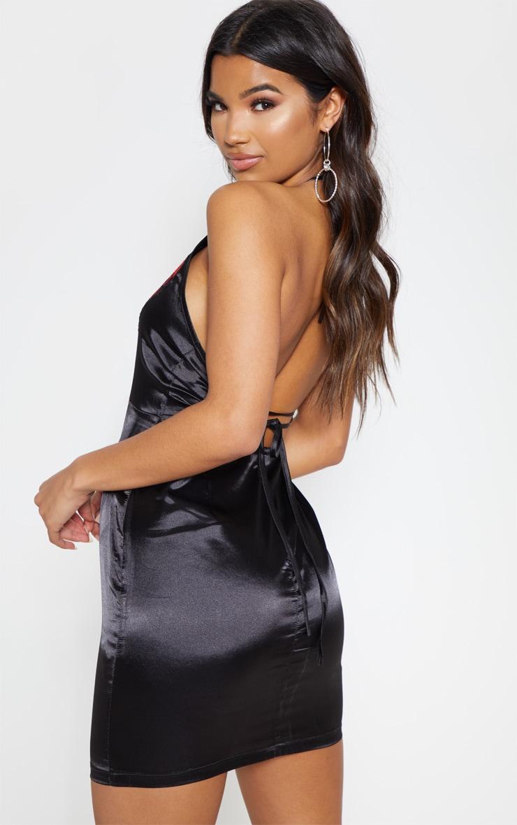 Black Satin Sequin Oriental Bodycon Dress 2