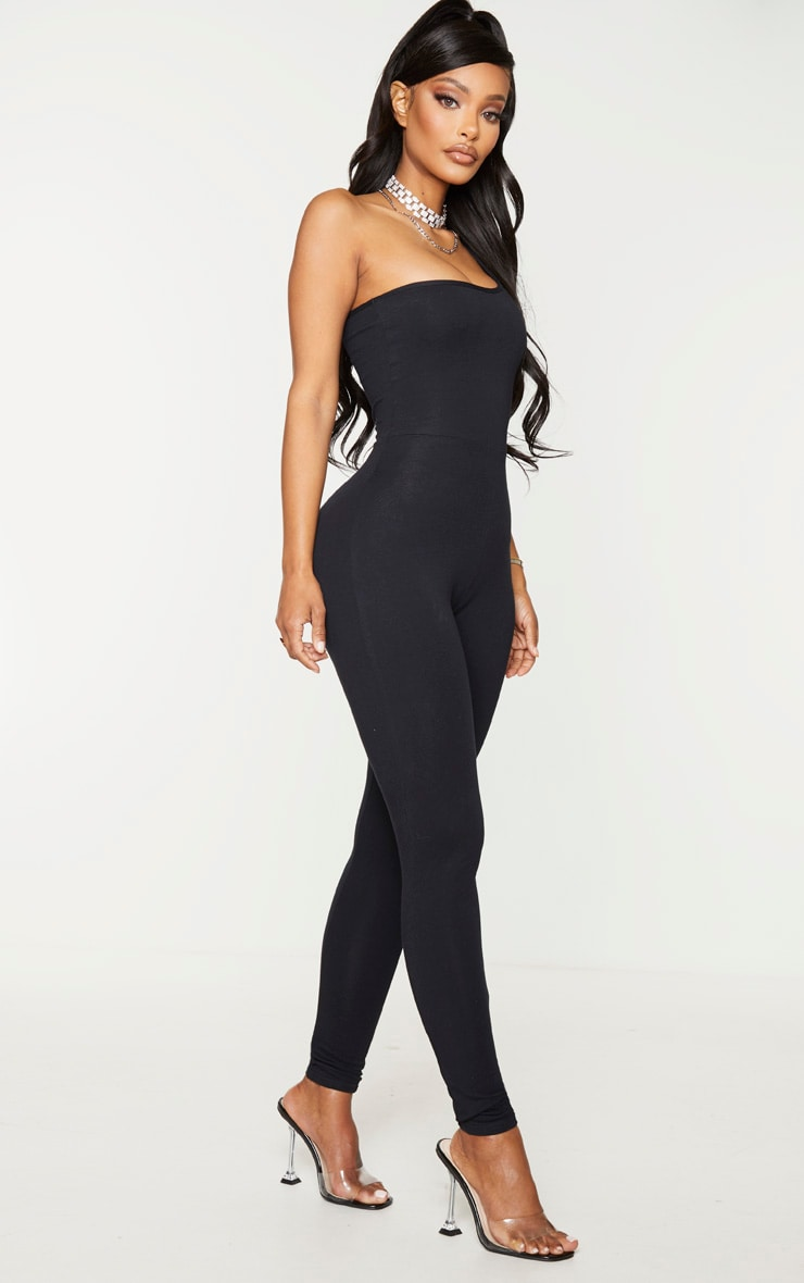 Shape Black Cotton One Shoulder Jumpsuit 3