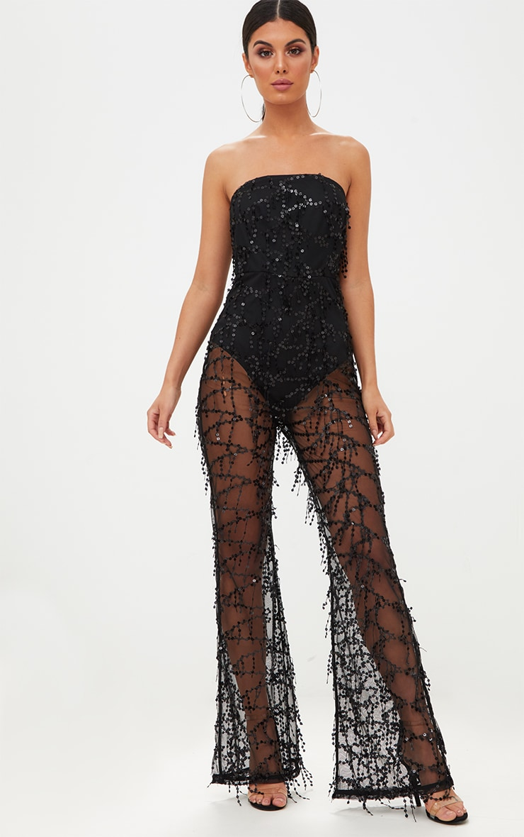 Black Sequin Bandeau Jumpsuit 1