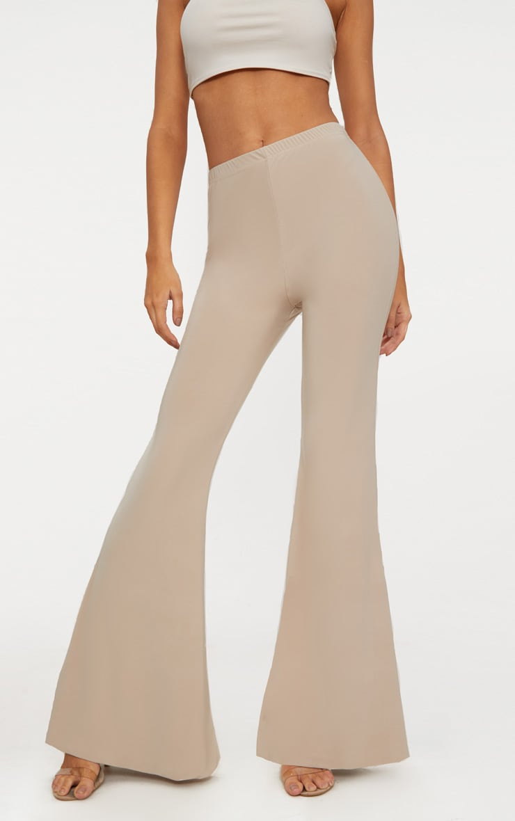 Taupe Slinky Double Layered Flared Trouser 2