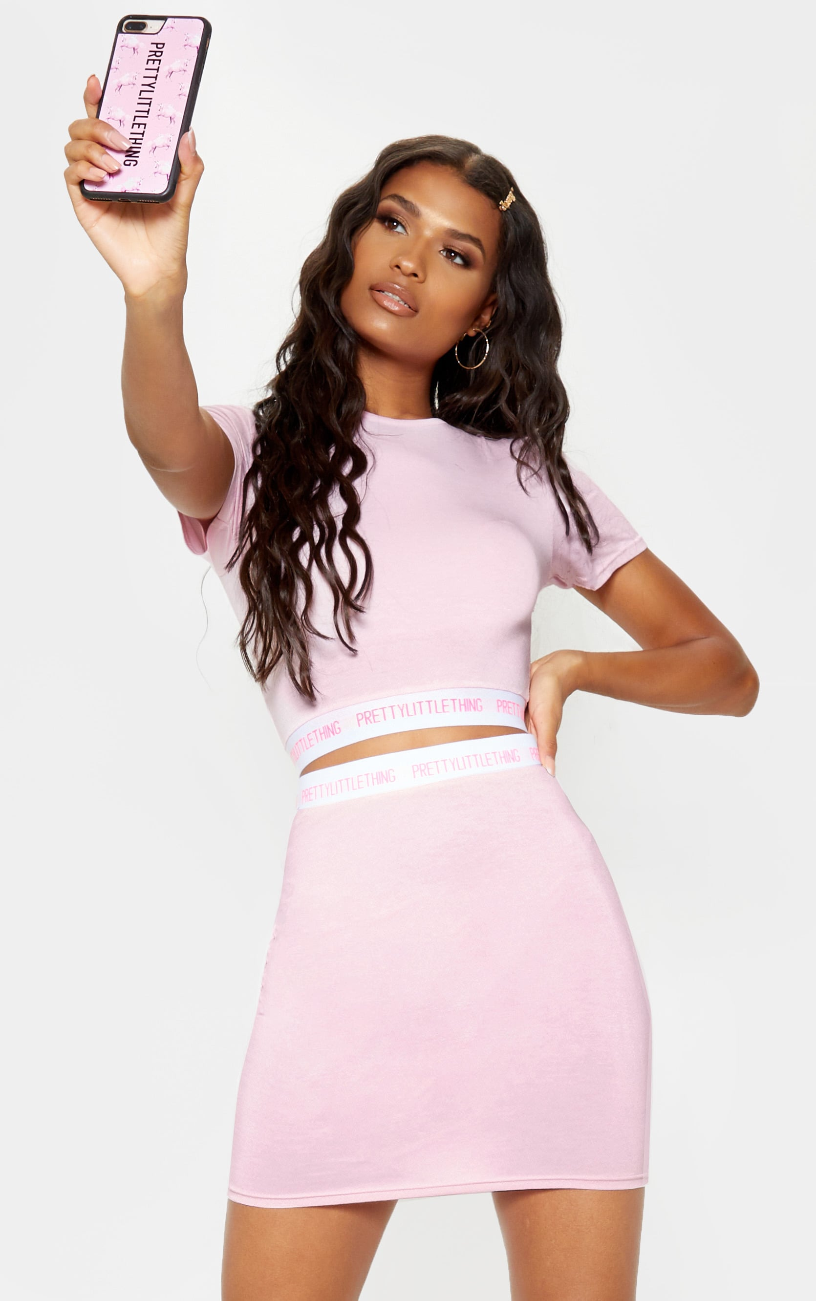PRETTYLITTLETHING Pink Tape Crop Top 1