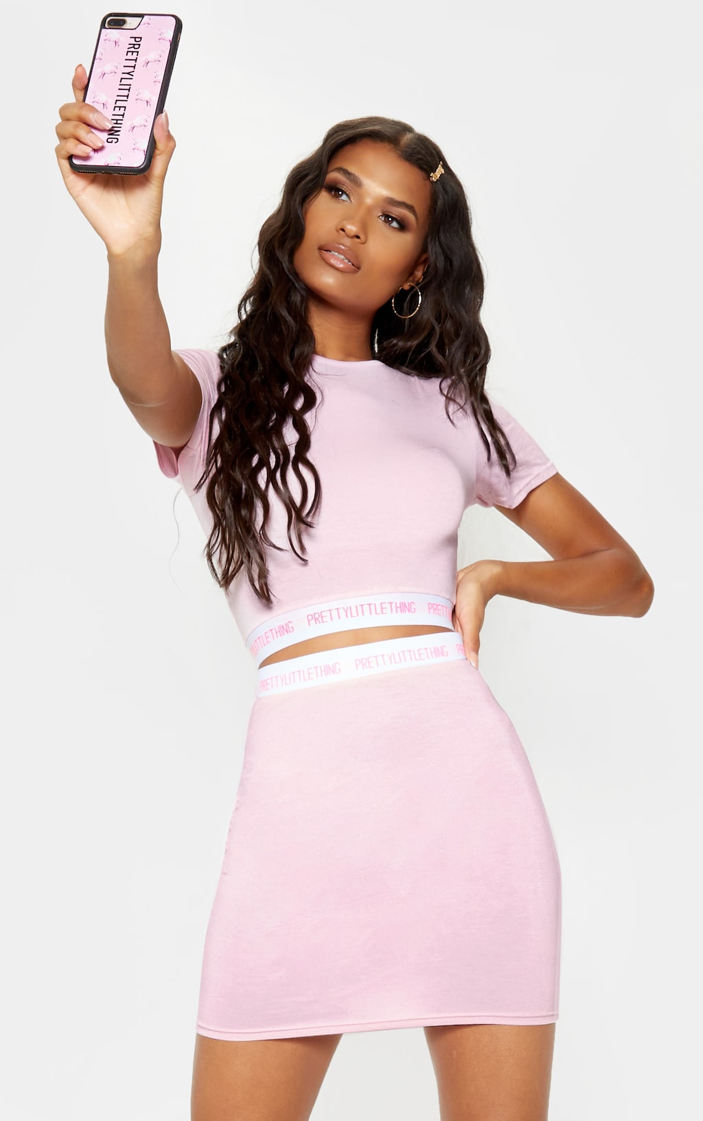timeless design new high quality famous brand PRETTYLITTLETHING Pink Tape Crop Top