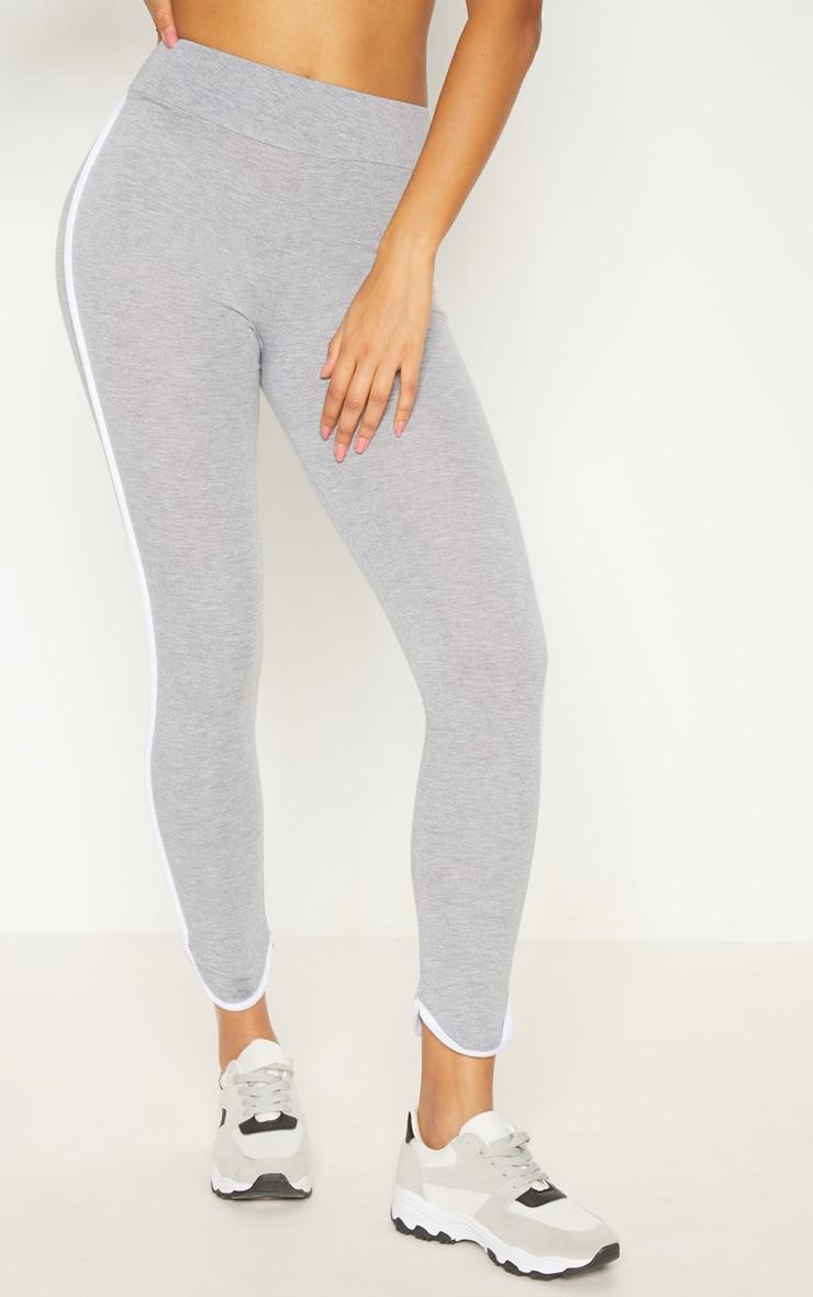 Grey High Waisted Curve Hem Detail Legging 2