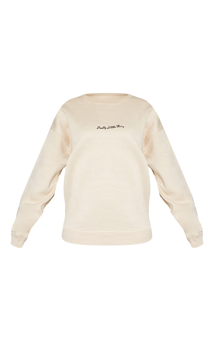 PRETTYLITTLETHING Recycled Sand Oversized Sweatshirt 5