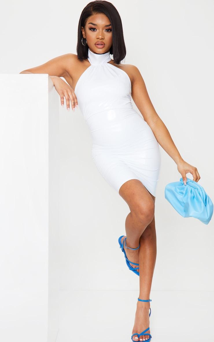 Petite - Mini-robe en vinyle crème à col haut 1