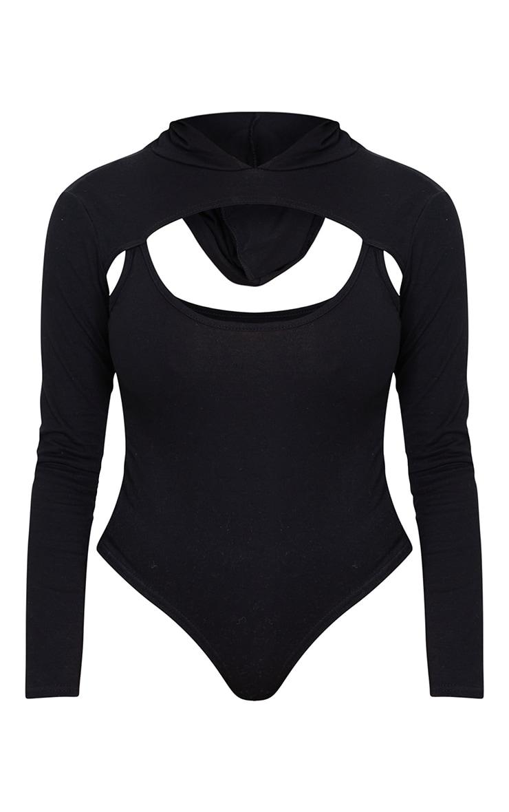Shape Black Cotton Cut Out Long Sleeve Hooded Bodysuit 5