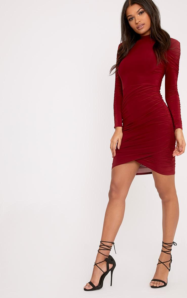 Sinitah Burgundy Long Sleeve Ruched Bodycon Dress 4