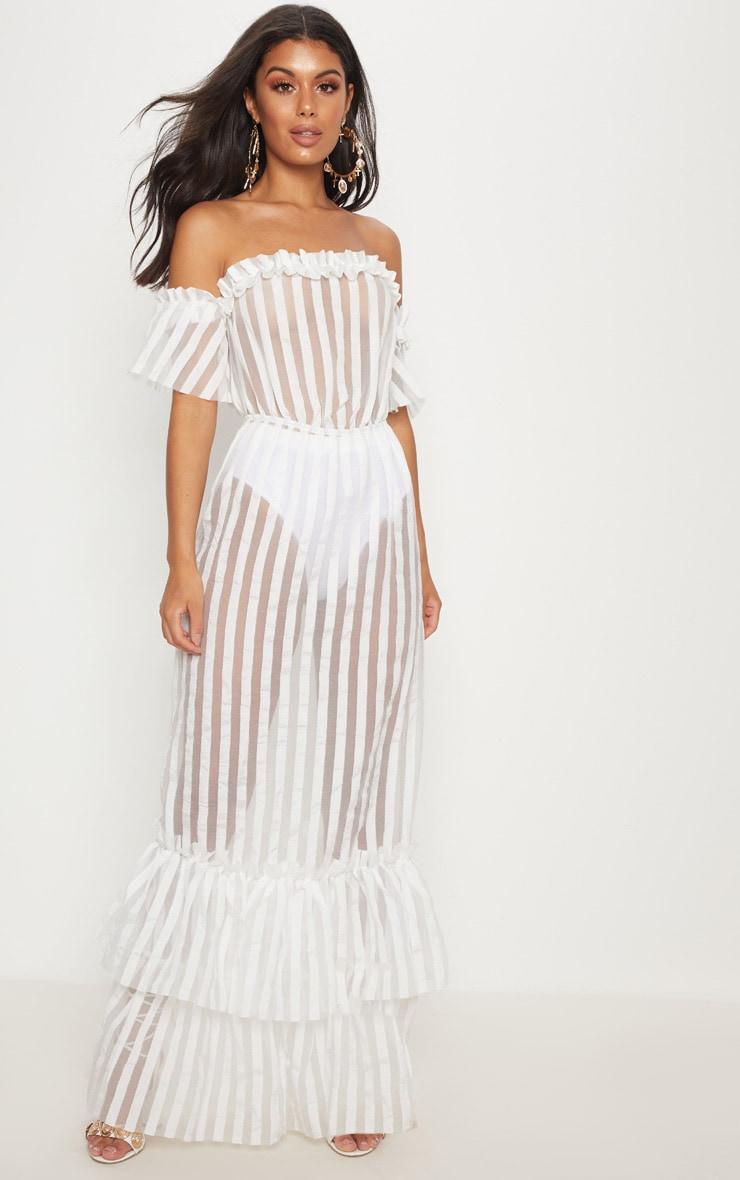 White Bardot Mesh Stripe Frill Hem Maxi Dress 4
