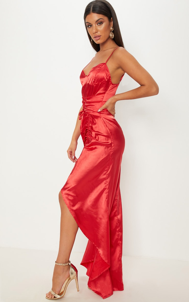 Red Satin Corset Ruched Maxi Dress 3
