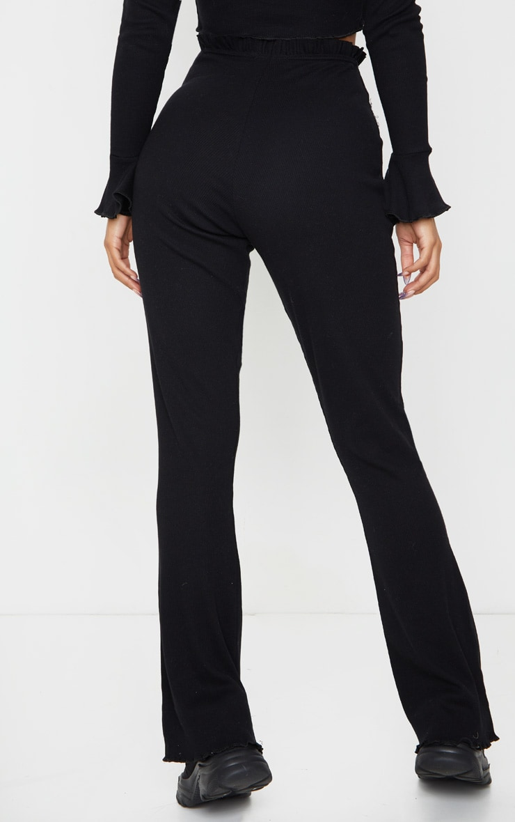 Black Rib Wide Leg Frill Detail Pants 3
