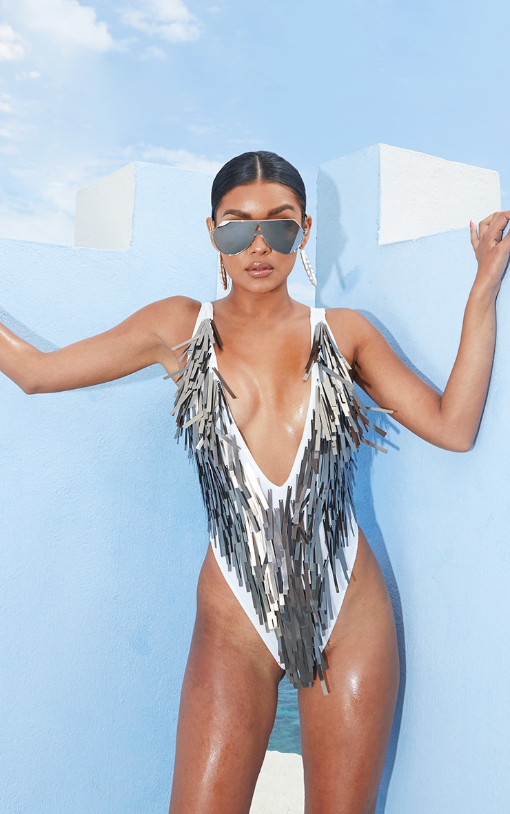 Silver Sequin Fringe Plunge Swimsuit  1