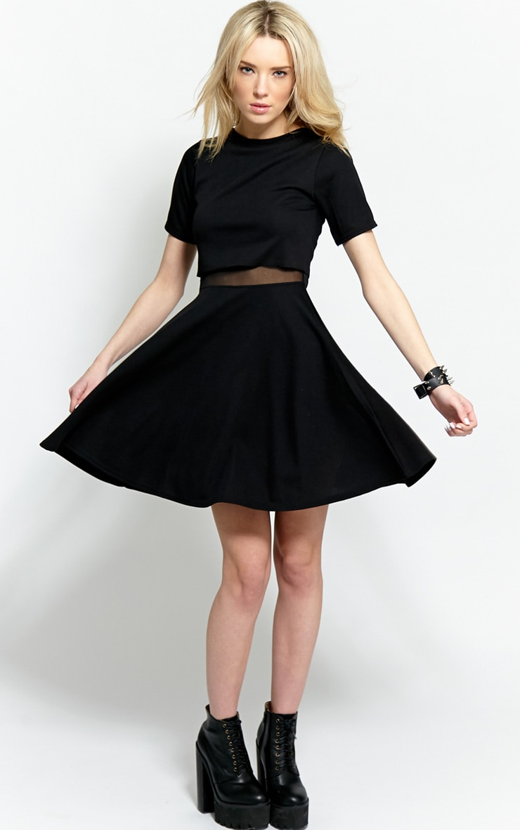 Suzie Black Jersey Mesh Skater Dress 3