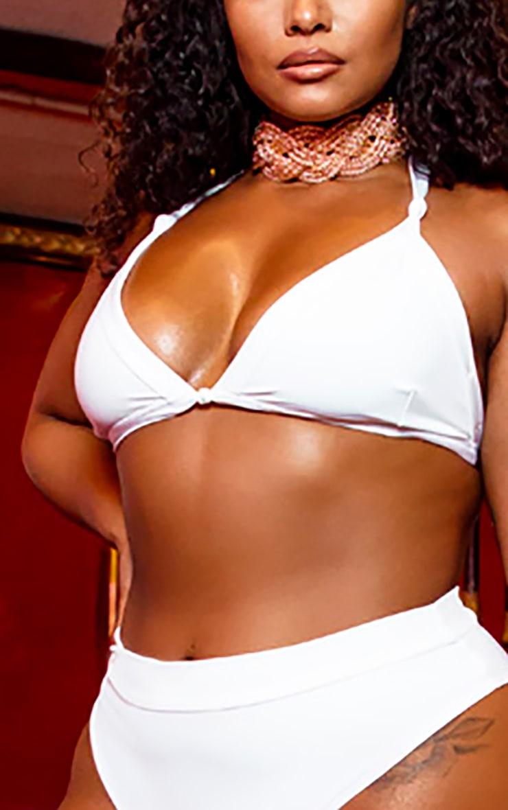 Plus White Knot Front Bikini Top 4