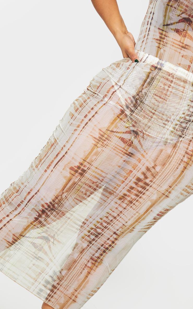 Plus Beige Textured Print Mesh Bodycon Midi Skirt 4