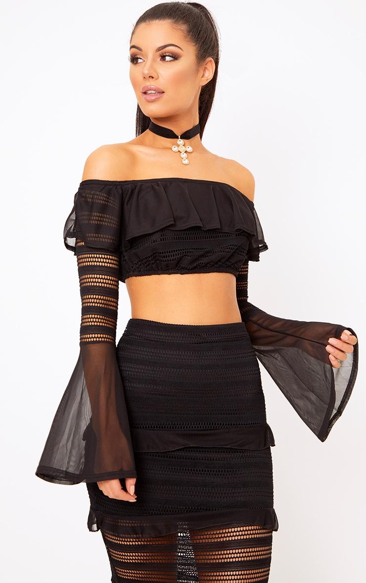 Nalini Black Bardot Fishnet Insert Crop Top  1