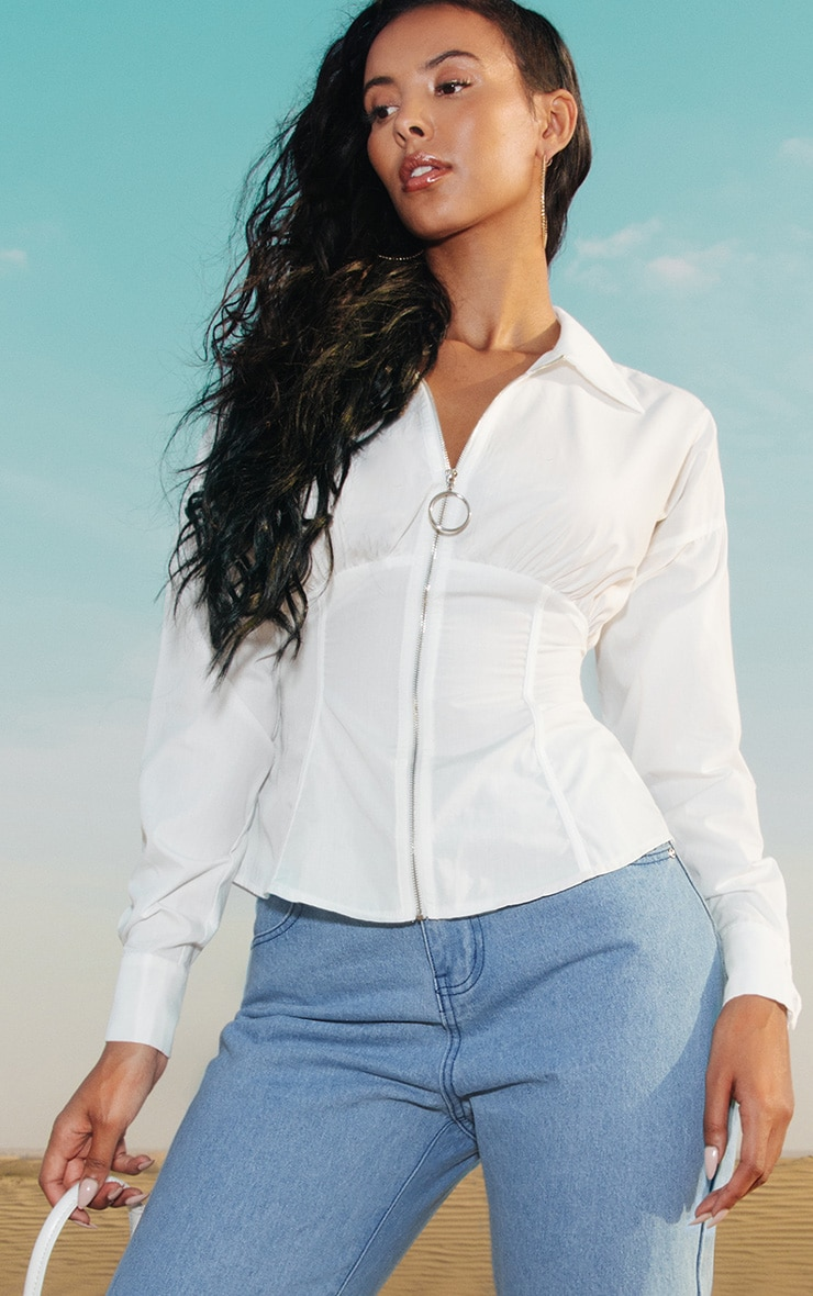 White Zip Corset Detail Shirt 2