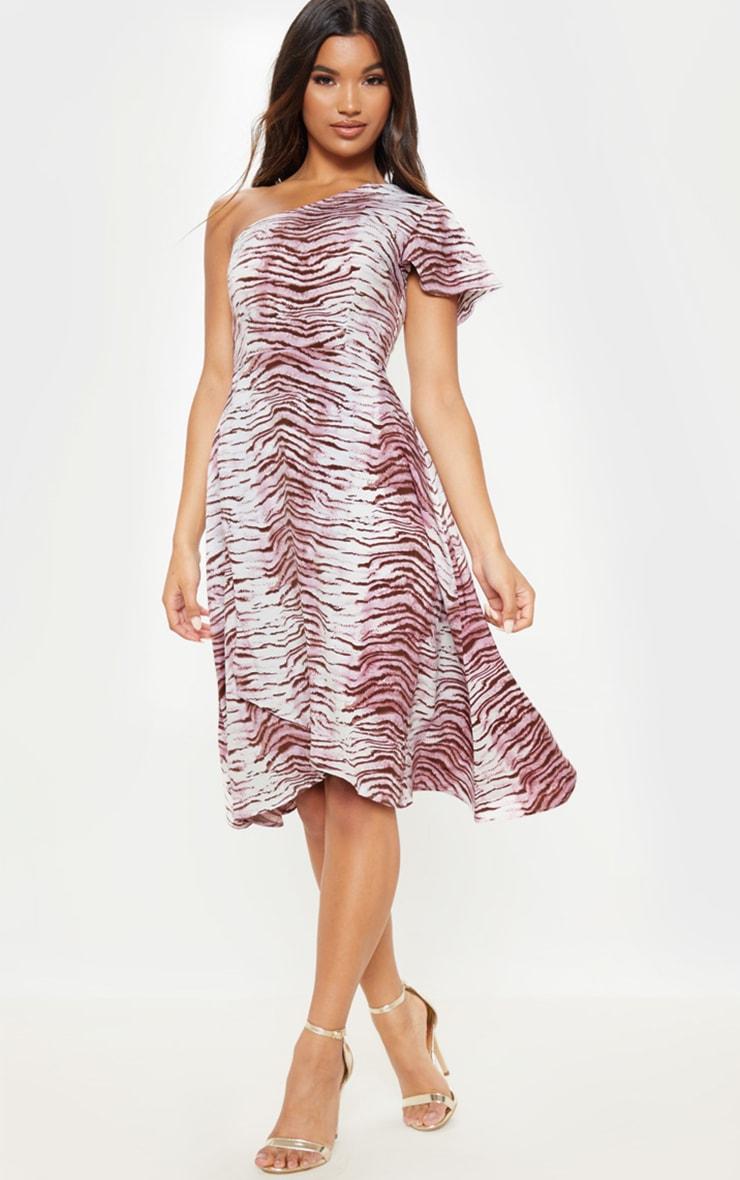 Lilac Animal Print Ruffle One Shoulder Midi Dress 1