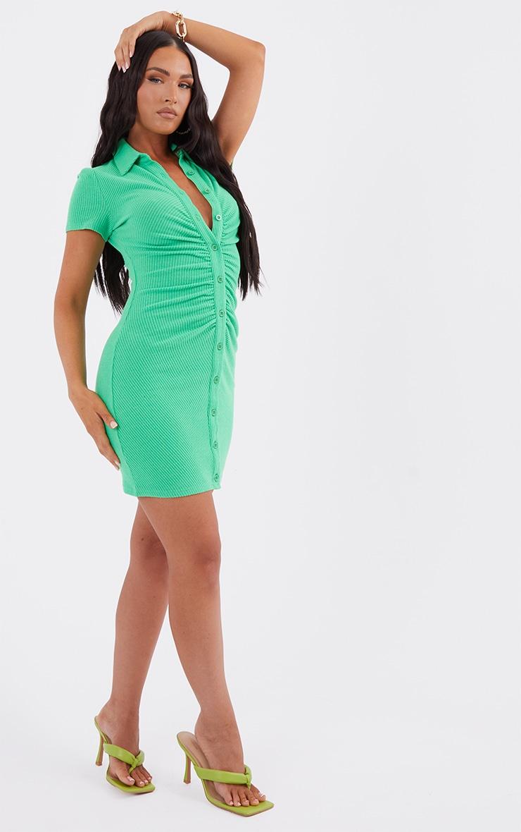 Green Short Sleeve Ruched Brushed Rib Shirt Dress 3