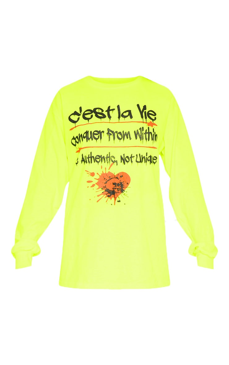 Yellow Cest La Vie Slogan Long Sleeve Top 3