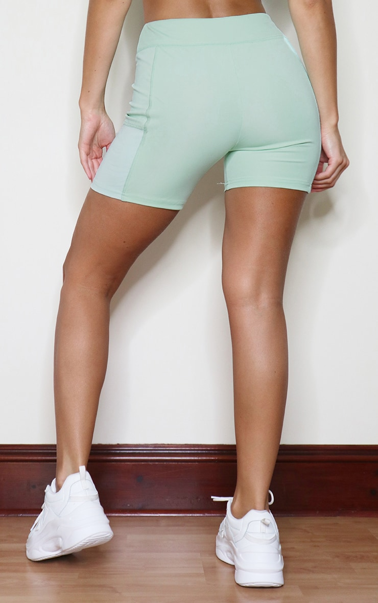 Sage Green Colour Block Gym Booty Shorts 3
