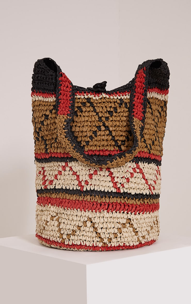 Raya Tan Boho Pattern Straw Beach Bag 1