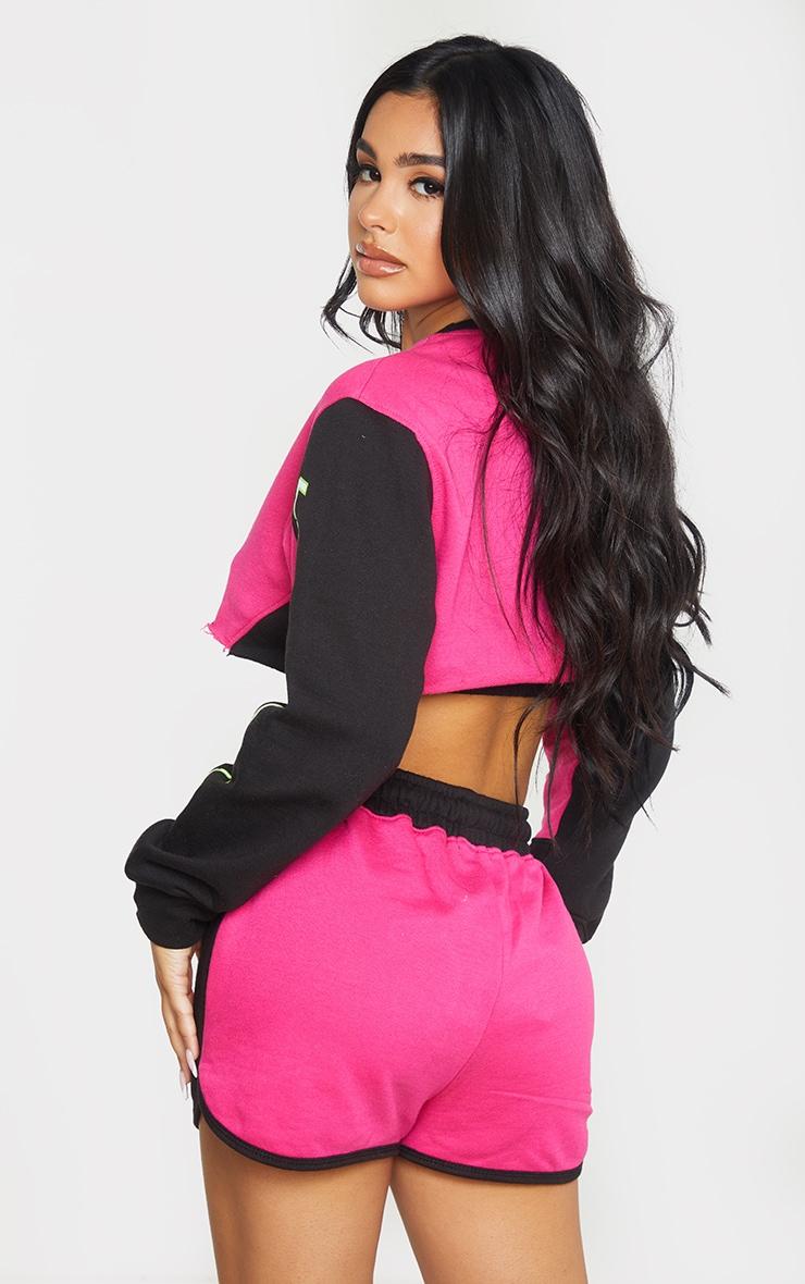 Petite Hot Pink 97 Printed Crop Sweater 3