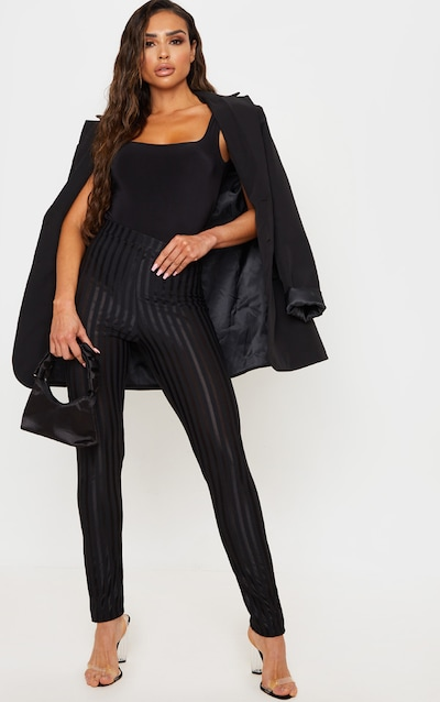 Black Sheer Stripe Skinny Trouser