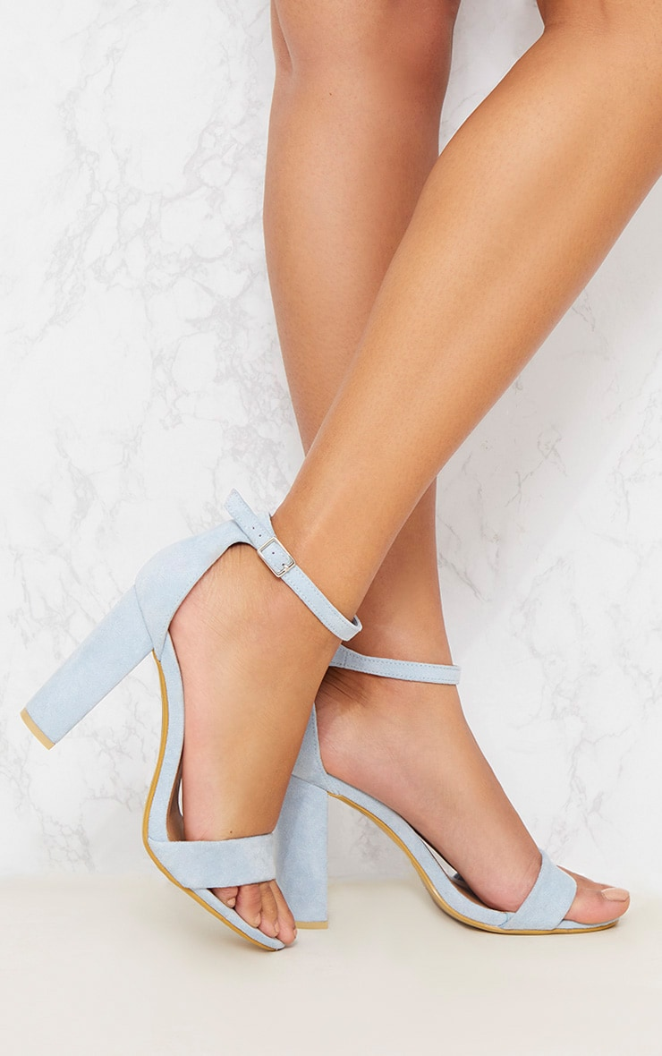 Dusty Blue Block Heel Sandal