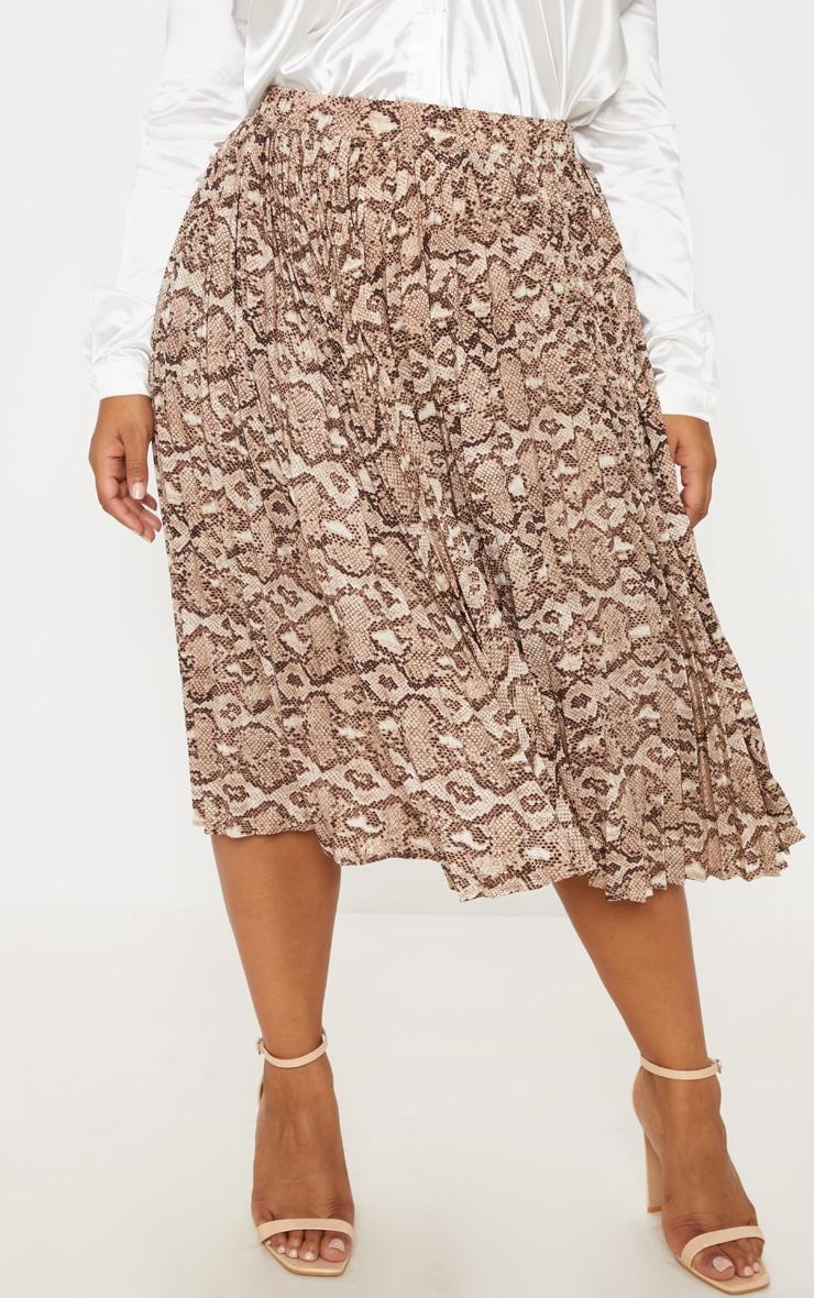 Plus Taupe Snake Print Pleated Midi Skirt 2