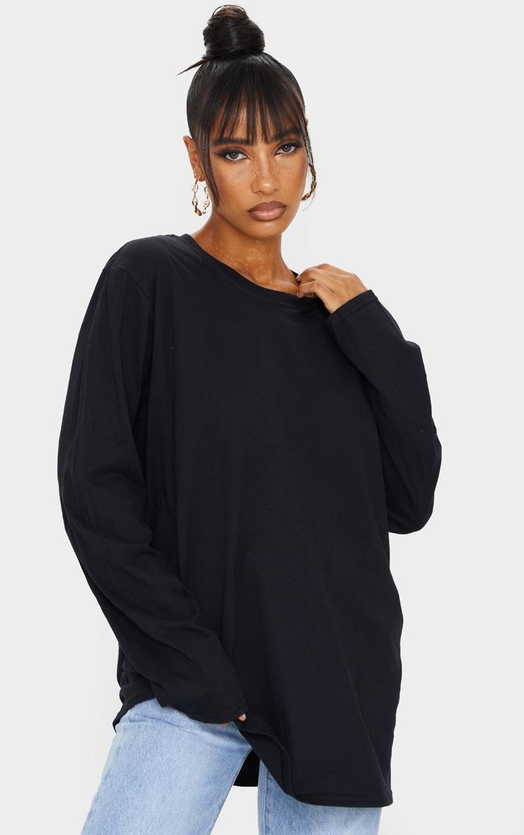 Tee-shirt manches longues oversize noir à imprimé L.A. 2