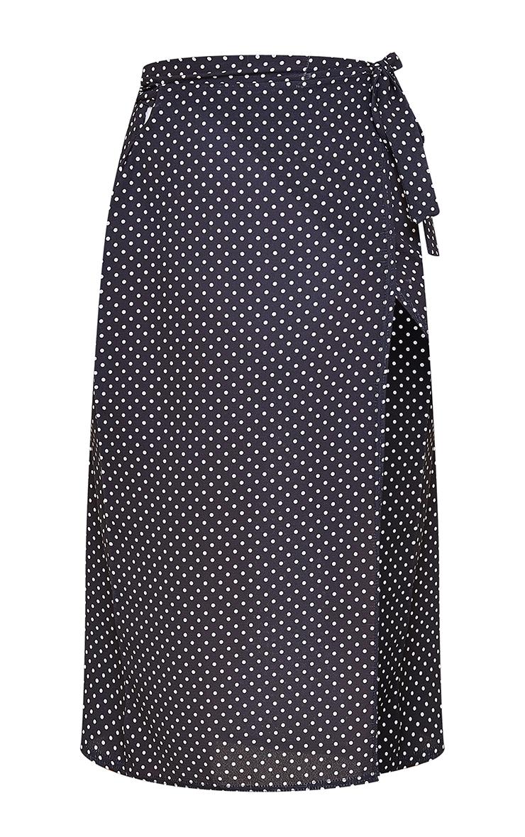 Black Wrap Around Polka Dot Midi Skirt 6
