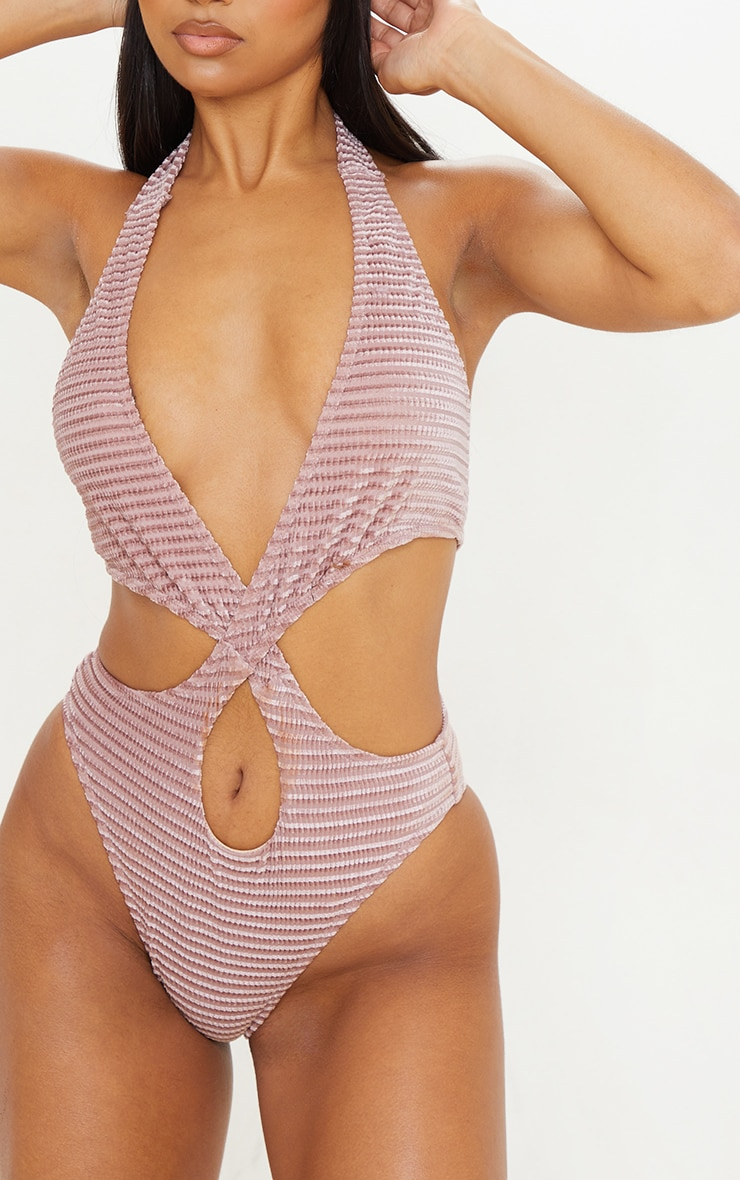 Rose Velvet Waffle Cut Out Swimsuit 4