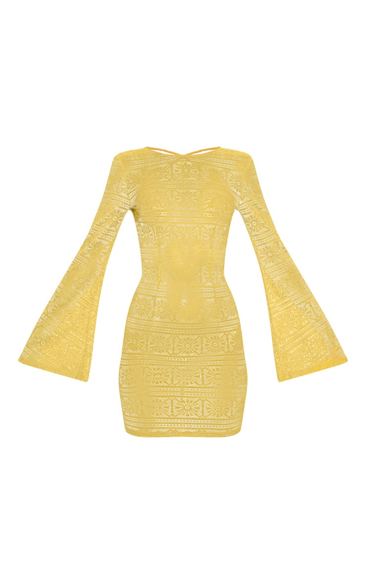 Yellow Tie Back Lace Bodycon Dress 3