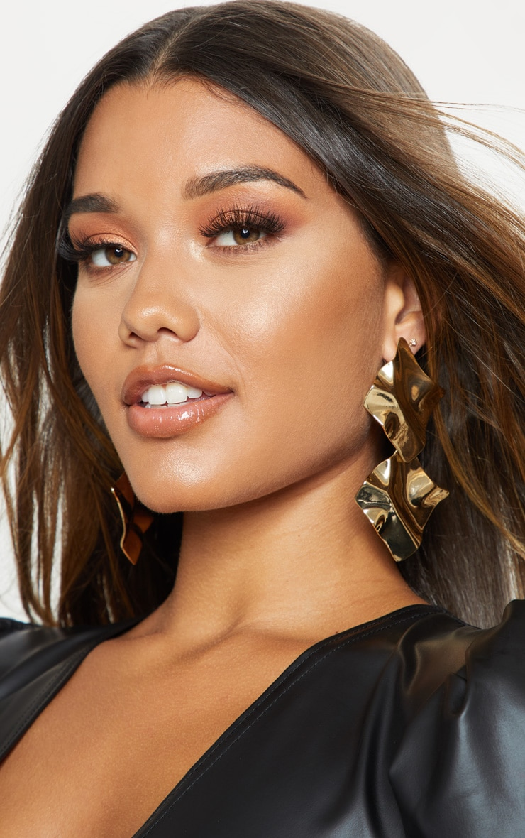 Gold Geo Textured Double Drop Earrings 1