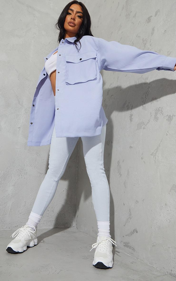 Sky Blue Twill Pocket Detail Oversized Boxy Shirt 3