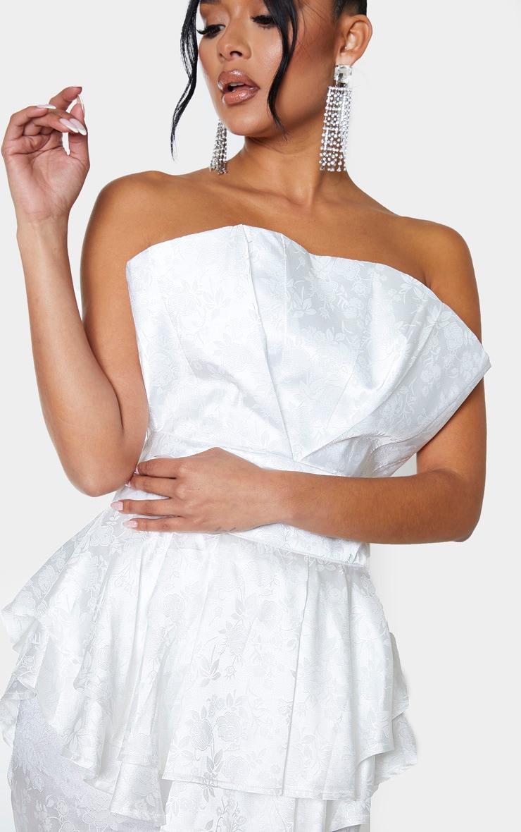 White Jacquard Bandeau Peplum Bodycon Dress 5