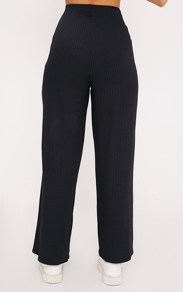 Karrah Black Wide Leg Tie Front Ribbed Pants 4