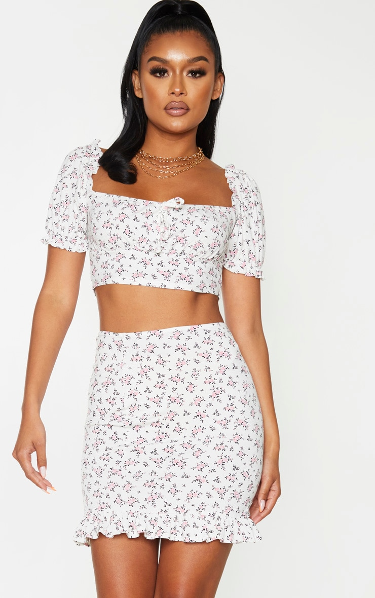 White Printed Jersey Puff Sleeve Frill Edge Crop Top 1
