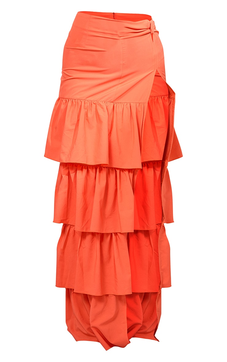 Bright Orange Chiffon Tiered Frill Detail Split Leg Maxi Skirt 5