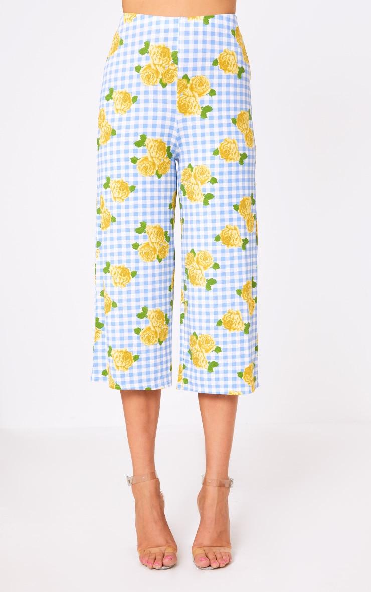 Blue Gingham Floral Print Culottes 2