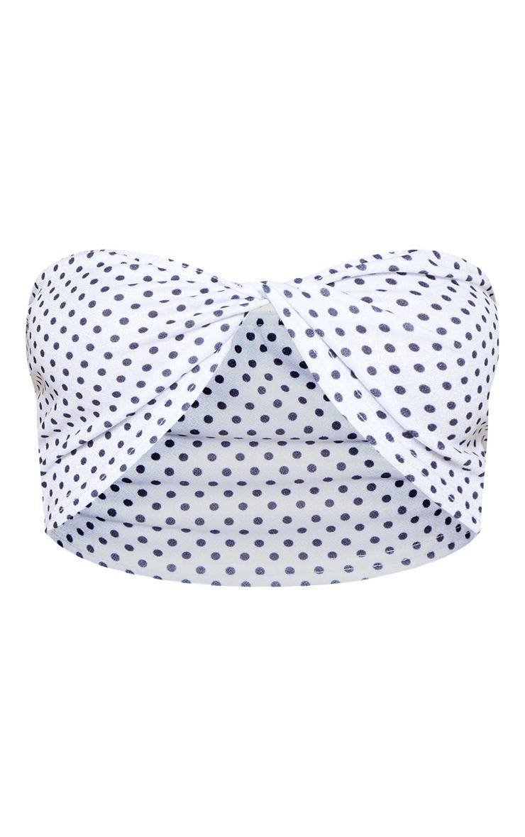 White Polka Dot Twist Front Bandeau Crop Top  4