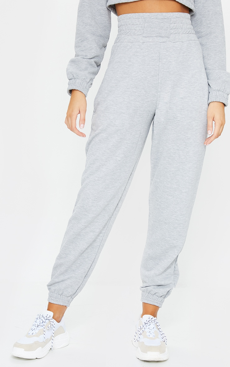 Grey Shirred Waist Panel Joggers 2