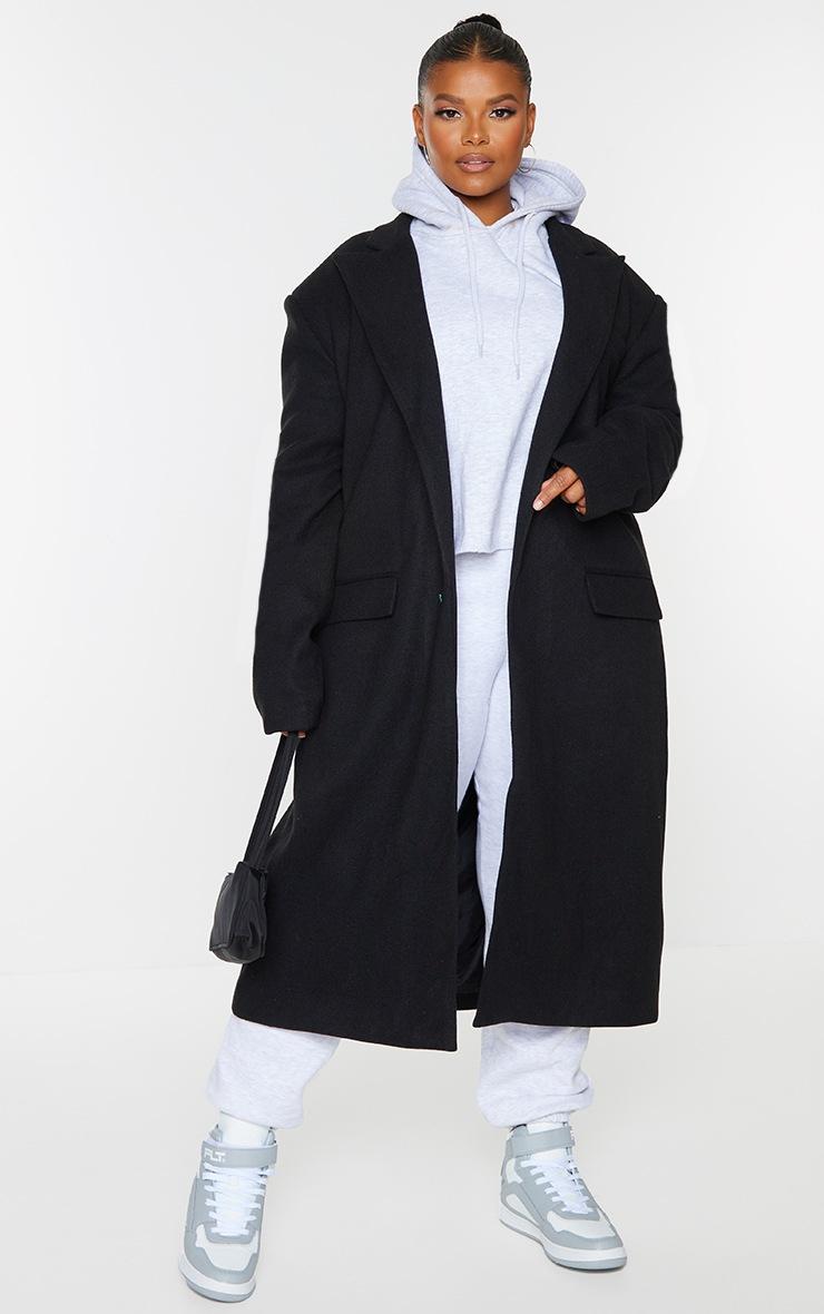 Plus Black Oversized Shoulder Padded Coat 3