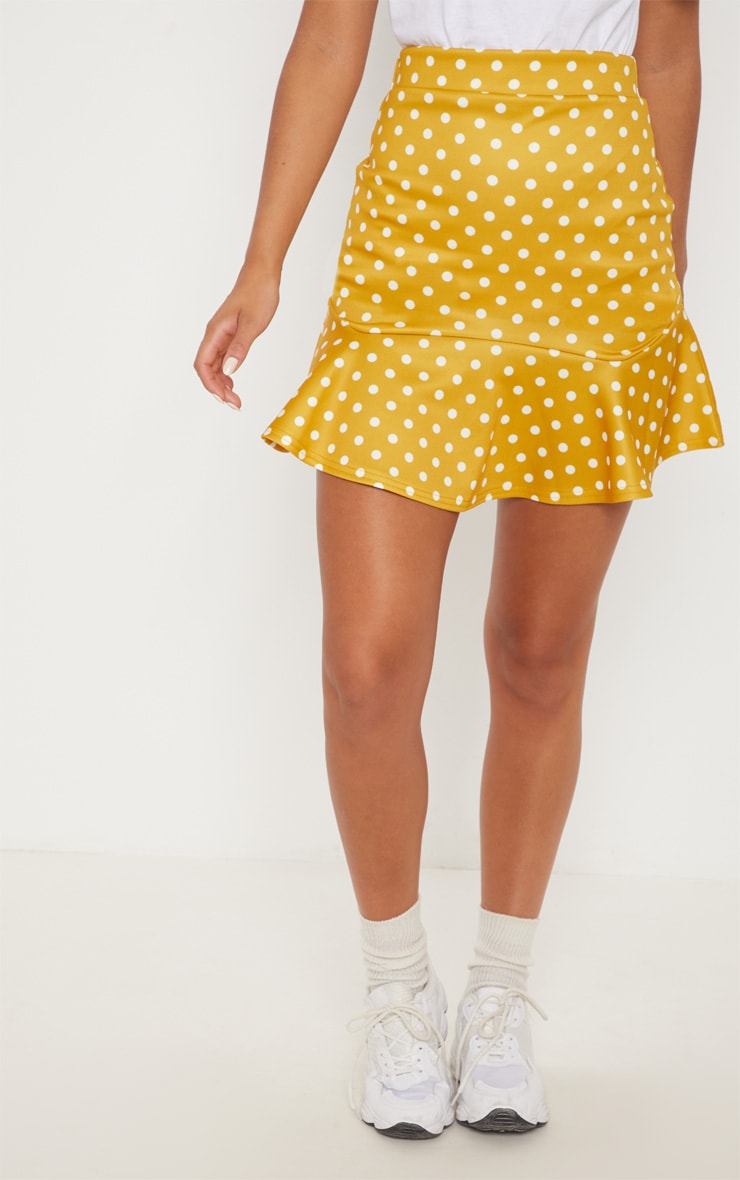 Mustard Printed Flippy Hem Mini Skirt 2