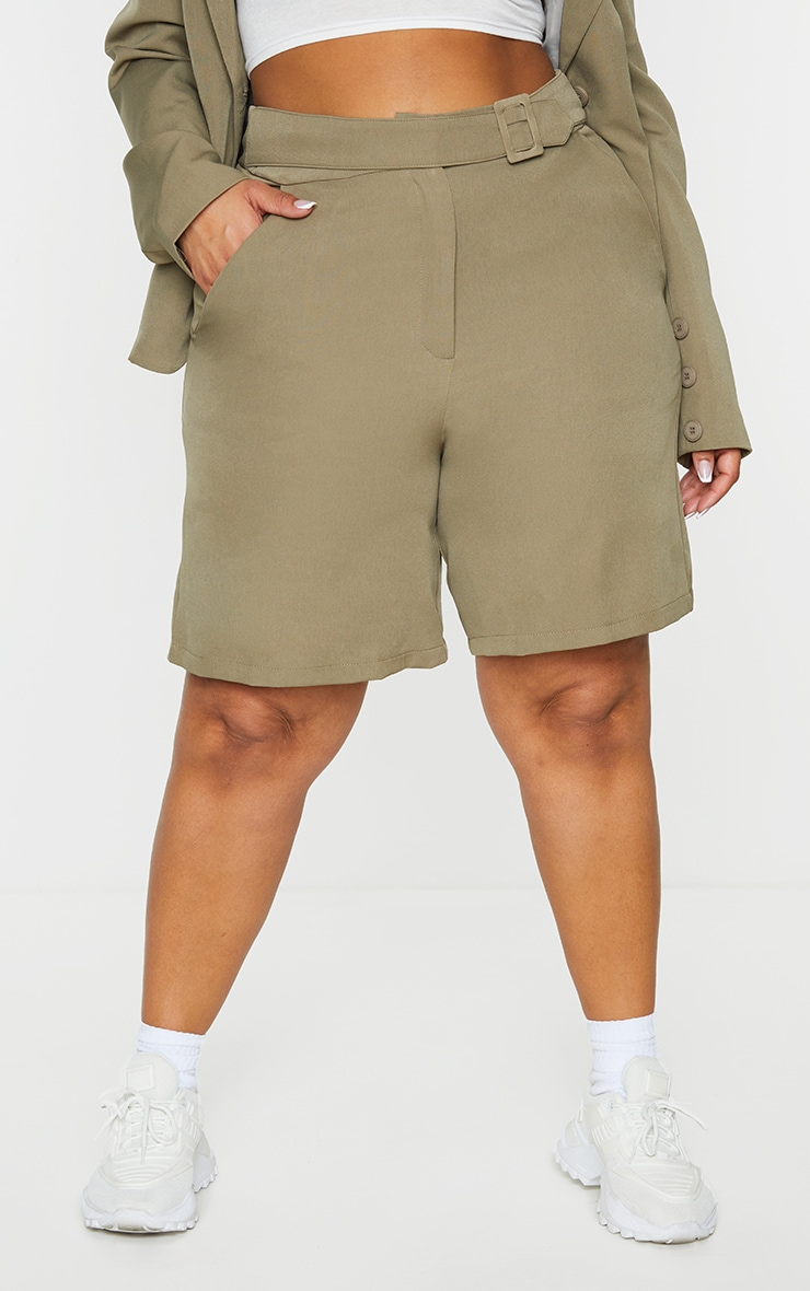 Plus Khaki Utility Tailored Shorts 3
