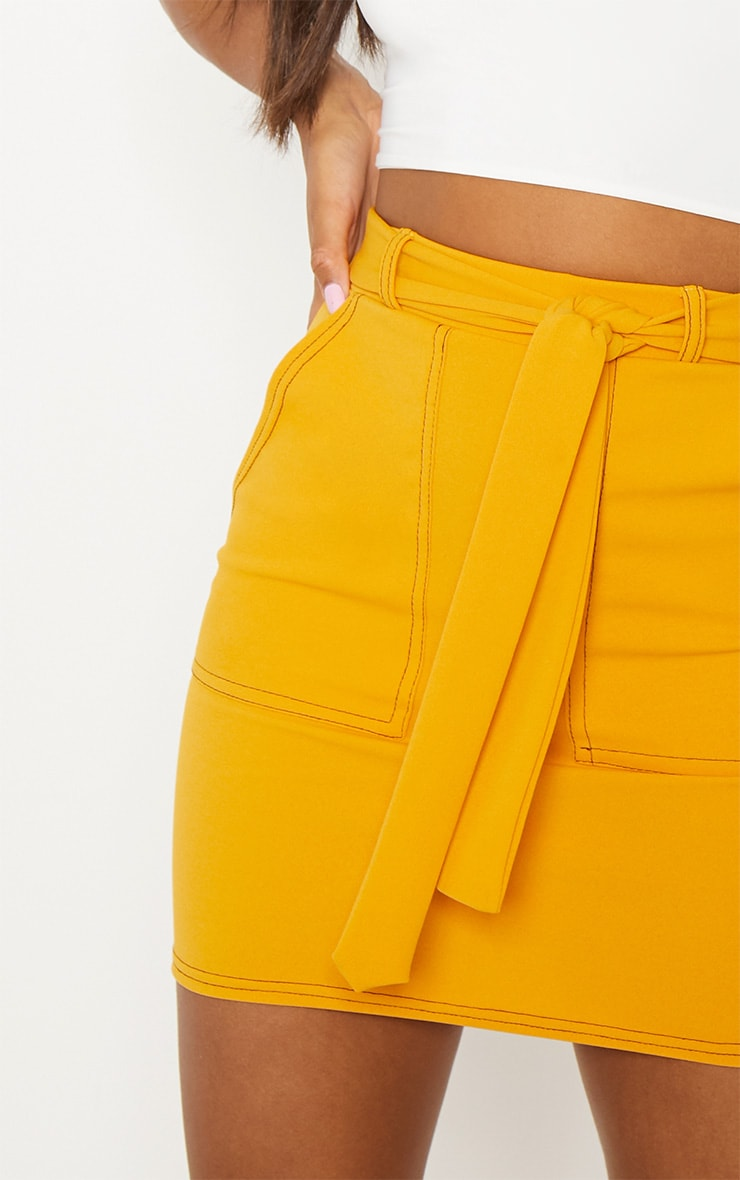 Mustard Contrast Stitch Tie Waist Mini Skirt 6