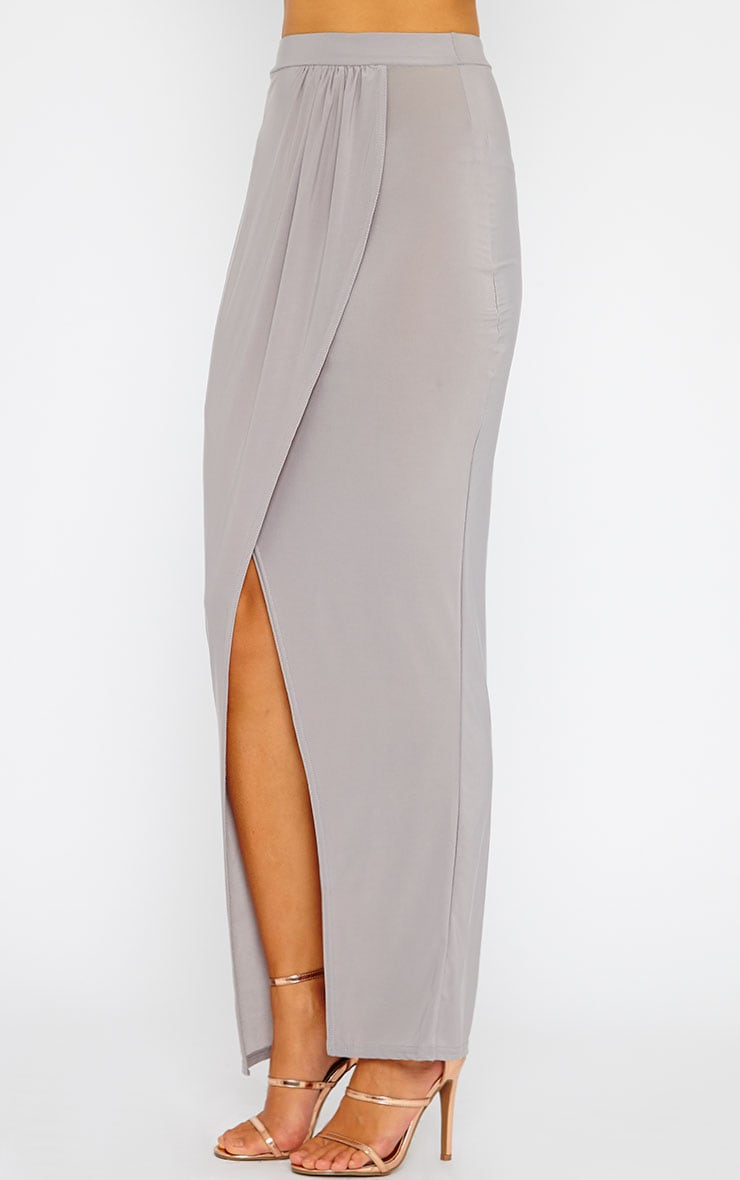 Ginevia Grey Slinky Split Hem Maxi Skirt 3