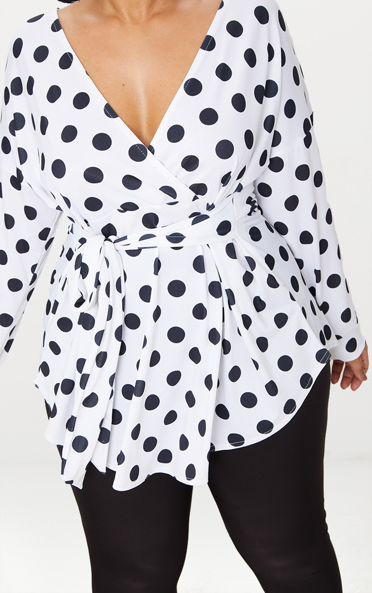Plus White Polka Dot Tie Waist Blouse 5