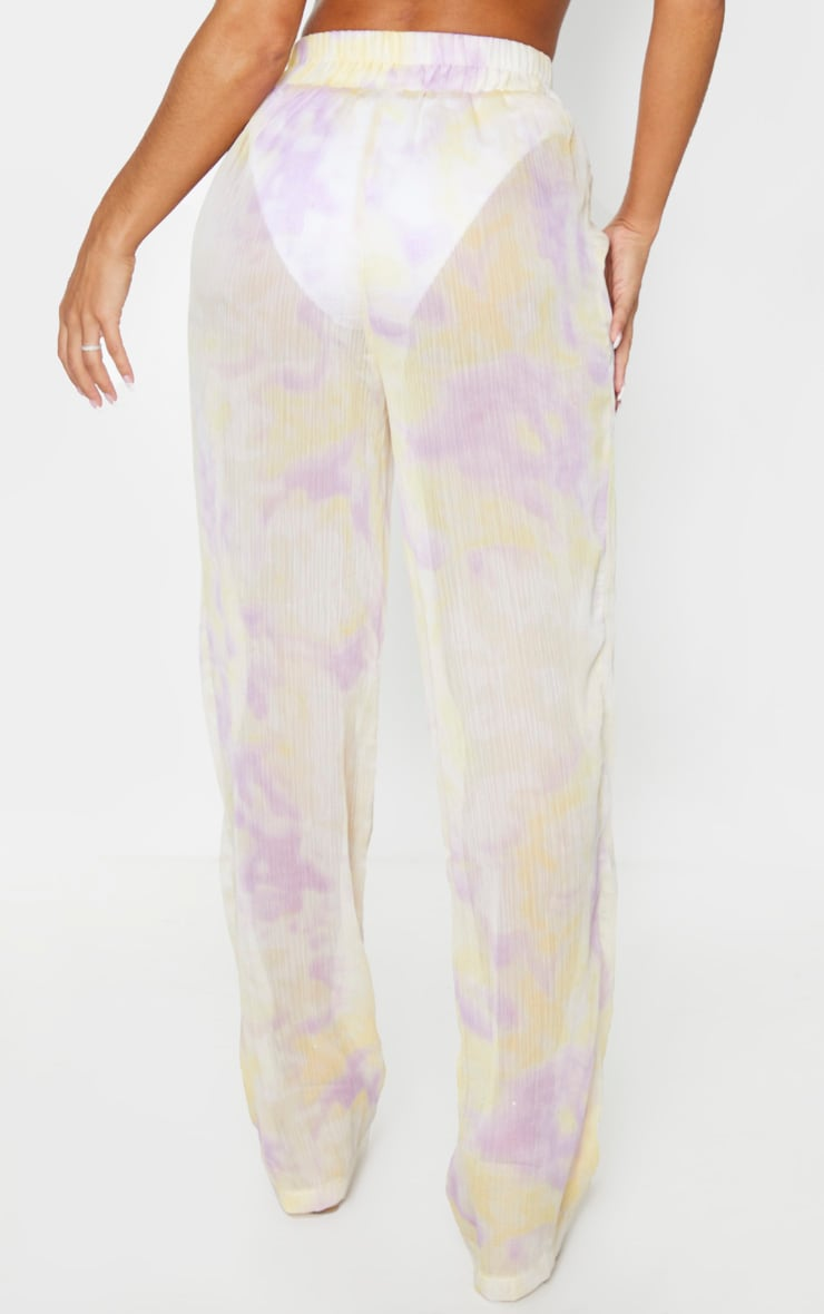 Lilac Tie Dye Wide Leg Beach Pants 3