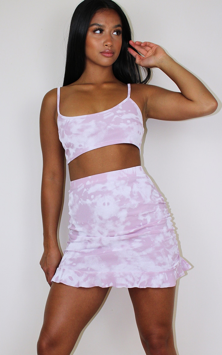 Petite Lilac Ribbed Tie Dye Frill Skirt 1